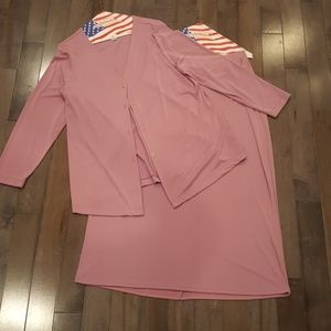 Light Pink Poly-Spandex Cardigan/Skirt/Pants 1X